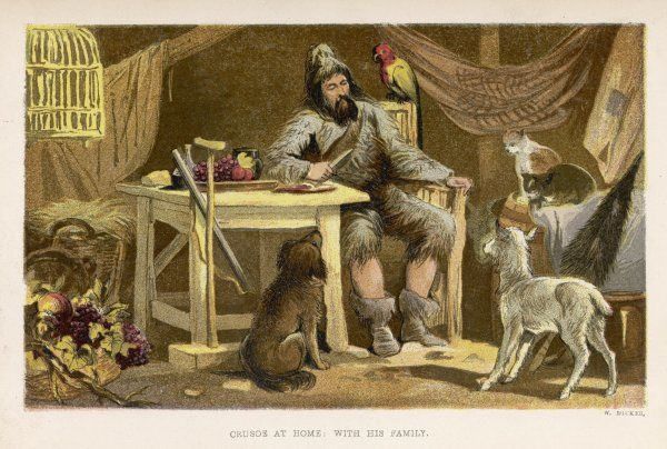 Robinson Crusoe with his family of domesticated animals