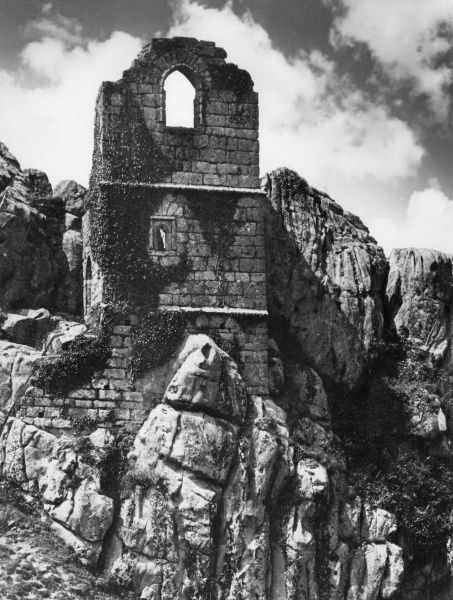 Roche Rock Chapel, Cornwall, England, where legend has it that Ogrin the Hermit sheltered lovers Tristram and Isolde from the wrath of King Mark (her husband & his uncle) Date