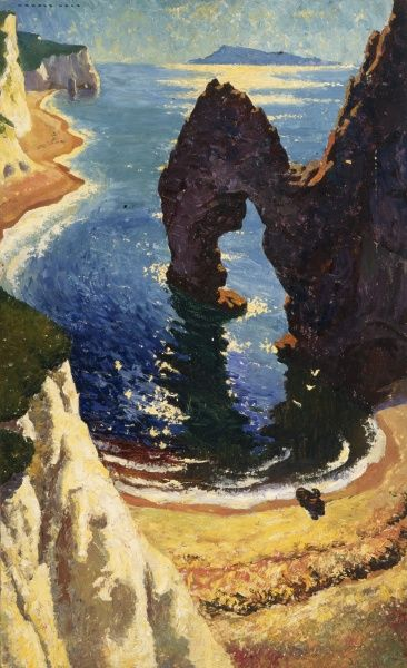 Painting of an unidentified coastal location with the unusual geological formation of a rock arch. Date: c.1930