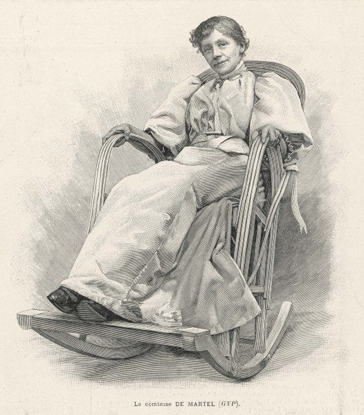 A rocking-chair, occupied by the French writer 'Gyp' (La comtesse de Martel')