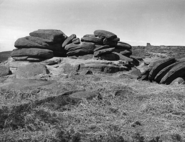 An unusual rock formation, known as 'The Rocking Stone', Millstone Edge, Derbyshire, England. Date: BC
