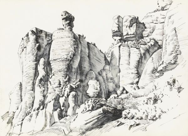 A rocky outcrop on the side of a mountain, formed by the weathering of soft rock, possibly sandstone. Pen & ink drawing by Raymond Sheppard