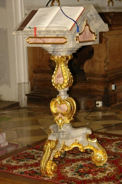 View of a rococo style lectern in the Studienkirche (Study Church or University Church), formerly the Jesuit Church of the Assumption, in Dillingen an der Donau, Bavaria, Germany. The church was consecrated in 1617