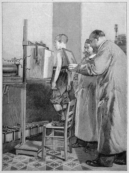 William Konrad Roentgen examines a patient. He was awarded the Nobel Prize in Physics 1901 for his discovery in 1895 of what was to be called the x-ray