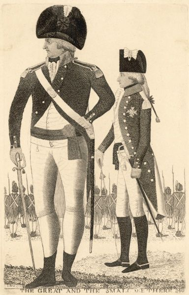 THE GREAT AND THE SMALL ARE THERE Caricature by John Kay of Roger Aytoun and the Duc d'Angouleme Date: 1797