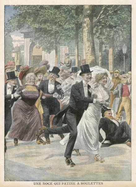 Jolly Berliners celebrate a wedding on roller-skates; one chap has fallen, whilst a portly lady looks wobbly - the bride and groom skate