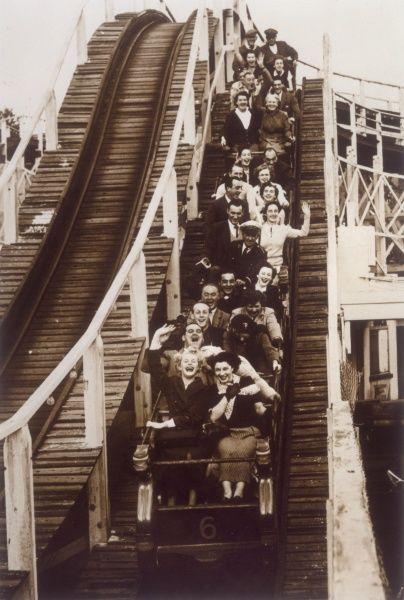 Riders on the 'Scenic Railway' rollercoaster at Dreamland in Margate, Kent