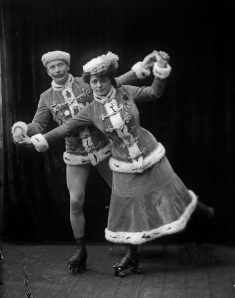 Rollerblading Posed artists from Grand Cirkus du Nord, 1910. 1910