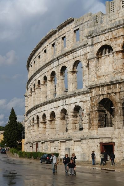 External view of the Roman amphitheatre at Pula, on the western coast of Istria, Croatia. It was built in the first century AD and is the best preserved ancient monument in Croatia. It is still used today as a theatre, film and concert venue