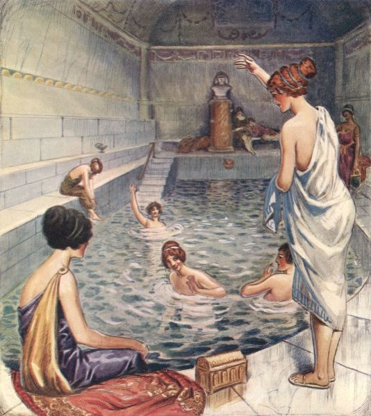 Ladies bathing in the Roman baths in the Strand, London, the remains of which exist today.  circa 400