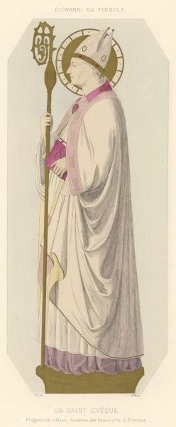 A Roman Cathlic bishop in full ceremonial dress. Not all bishops had a halo, however : this one was evidently a saint as well as being a bishop