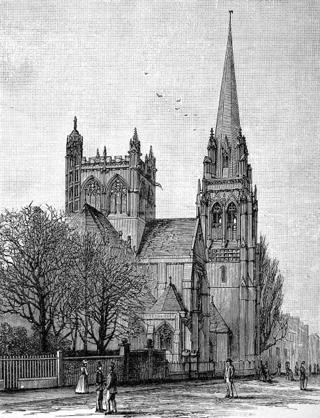 Engraving of the Roman Catholic Church, Cambridge, then nearing completion, March 1890