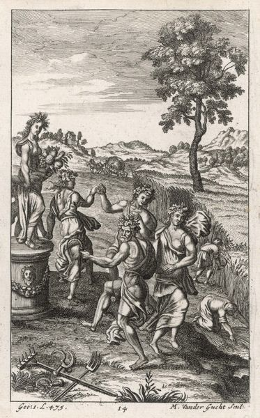 Roman countryfolk dancing in honour of Ceres [Demeter] the goddess of agriculture