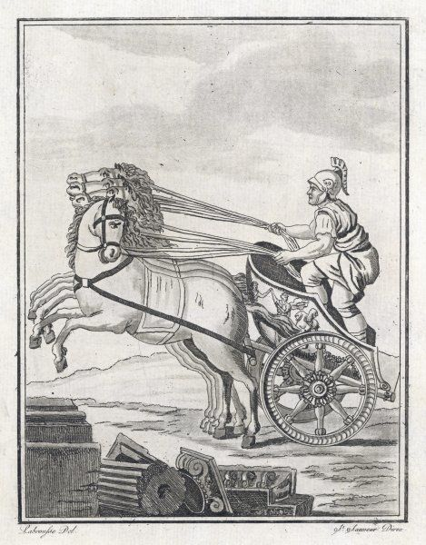 A four-horse-power chariot, of the kind used in racing
