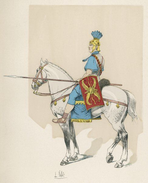 A cavalryman of ancient Rome, riding without stirrups