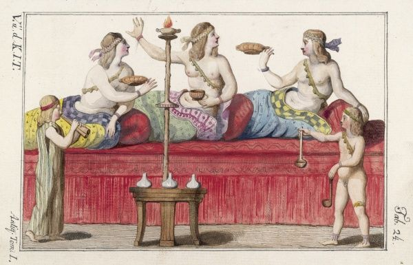 Three Roman ladies partying, while servants play music and fill their beakers