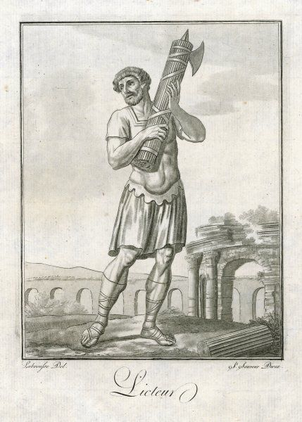A Roman LICTOR : the fasces - an axe within a bundle of sticks - is the symbol of his authority
