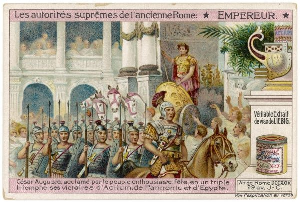 A Roman triumph: a victorious Emperor Augustus rides in procession through the streets of Rome