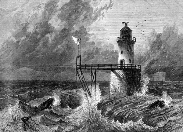 Engraving of the Roman Rocks lighthouse at Simon's Bay, Cape of Good Hope, March 1869