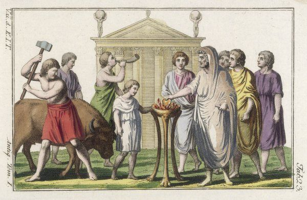 A Roman priest prepares to sacrifice a bull in front of his temple, while an acolyte blows a horn