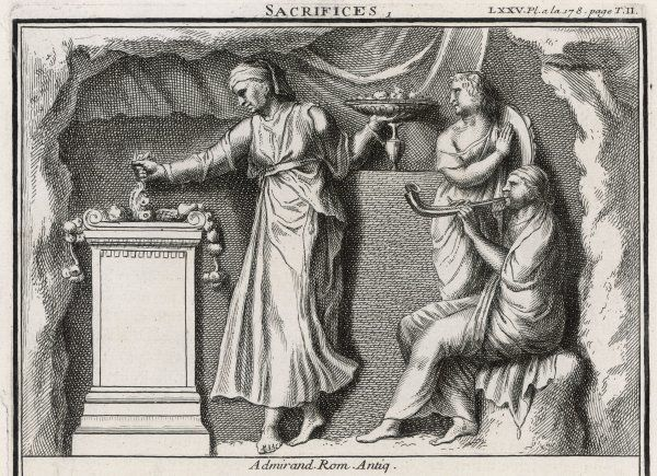 A Roman woman gives offerings of food and drink to the gods, while her companions play a suitably musical accompaniment