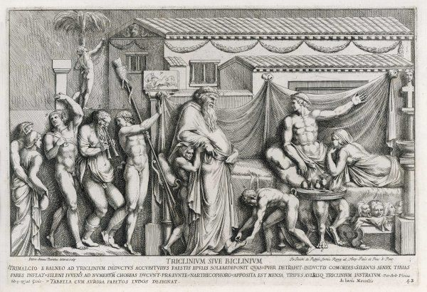 The absurdly extravagant feast given by the Roman parvenu Trimalchio, in the 'Satyricon' of Petronius