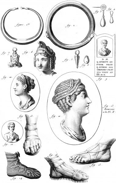 Various Roman shoes, jewels and hairstyles. Date: ANCIENT ROME