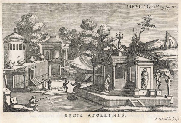 Sanctuary dedicated to Apollo (hence the lyre on the roof of the temple.)
