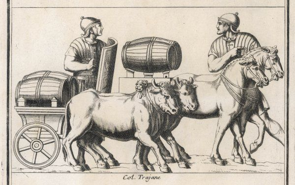 A Roman leading a horse-drawn wagon passes another leading an ox-wagon