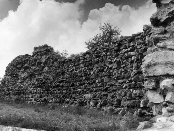 This fine Roman wall at Caerwent, Monmouthshire, Wales, is part of the remains of the Roman city of Venta Silurum, the tribal capital of the Silures. Date: 1st century