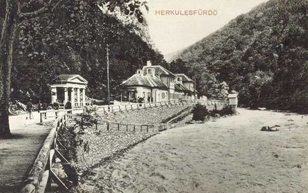 Romania - Baile Herculane - a town in Romanian Banat, in Caras-Severin County, situated in the valley of the Cerna River (pictured), between the Mehedinti Mountains to the east and the Cerna Mountains to the west. This card shows part of the riverside spa