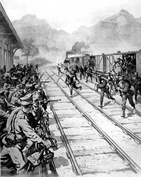 Illustration showing the surprise attack launched by Romanian troops on Ghemesh railway station in Austro-Hungaria, 1916. On the first day of hostilities between these two countries the Romanians asked that a Hungarian train might be fetched back from Romania