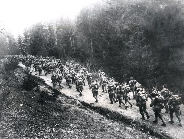 Romanian troops on the march at Ditro in the Carpathians during the First World War. Date: 1916