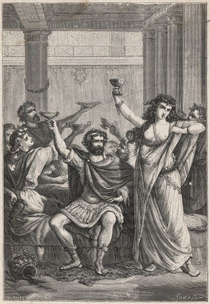 Ancient Romans celebrate with a drink