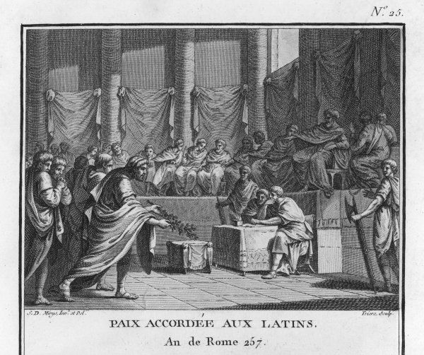 Rome makes peace with Latium (the modern name for the area is Lazio), the tribe of the Latins in central western Italy