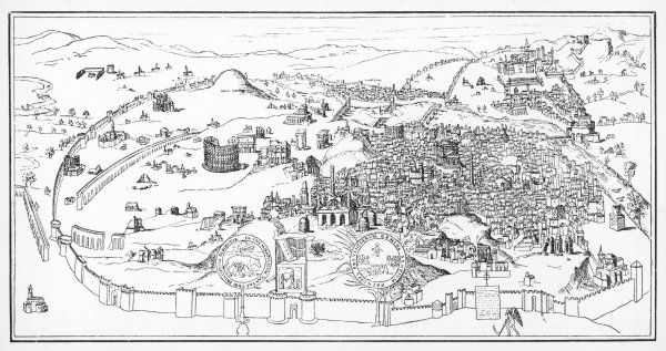 A panoramic view of Rome, dating from between 1350 and 1450, and originating from the monastery at Mantua