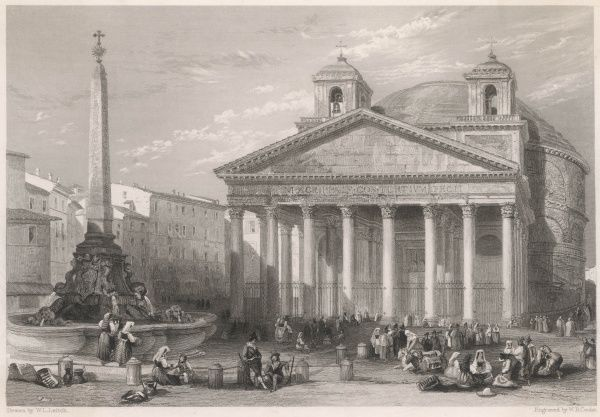 The exterior of the Pantheon with people milling about in the foreground