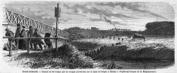 Papal forces sever the railway line between Rome and Foligno, to hamper the expected attack by Garibaldi and his men