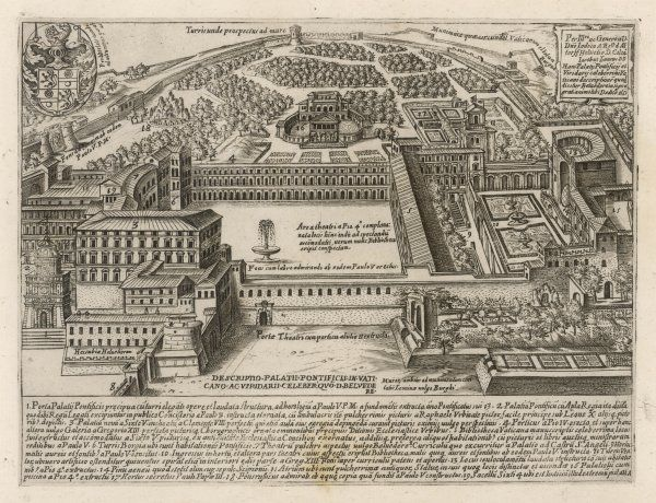 A fine bird's-eye view of the Vatican Palace, showing additions made by the Popes at various times up to the 1620s