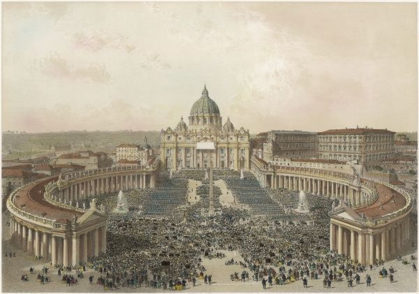 The Basilica and Piazza di San Pietro, at Rome, on Easter Sunday, when the Pope bestows his blessing on the faithful