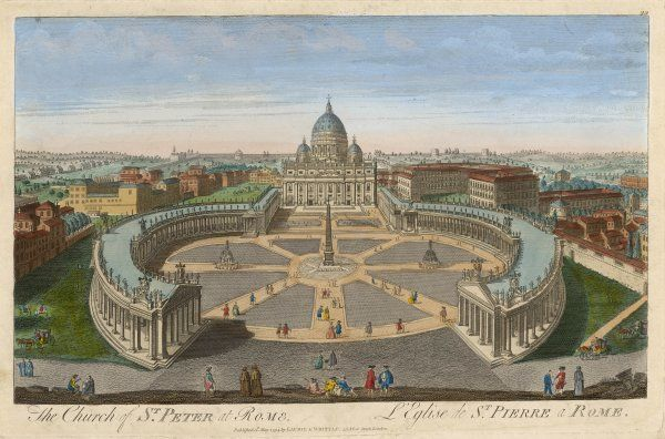 A bird's eye view of San Pietro (St Peter's), Rome, and the adjoining buildings of the Vatican