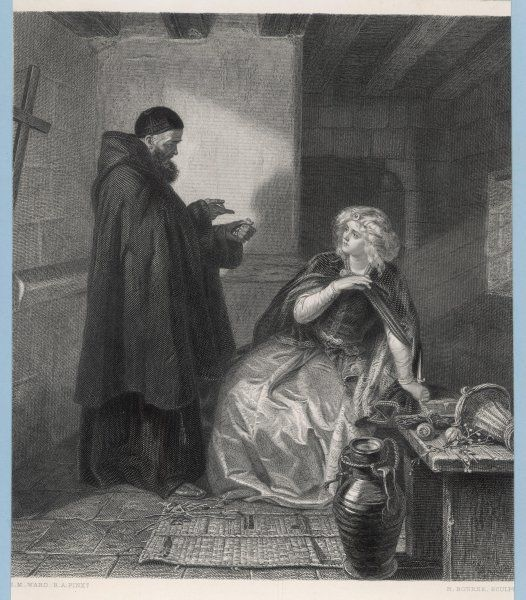 Act IV Juliet visits Friar Lawrence in his cell and procures a sleeping potion