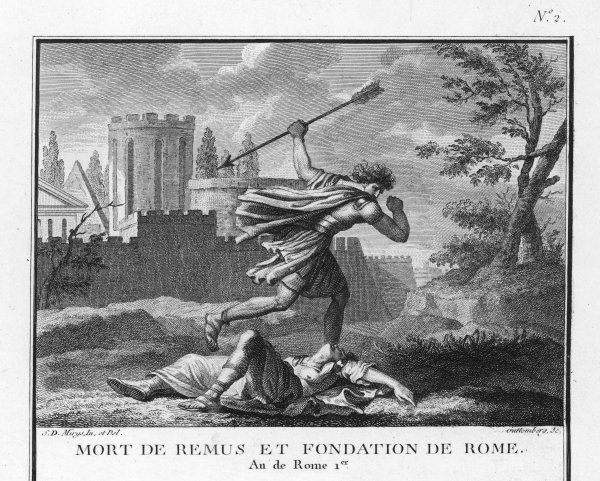 Romulus founds Rome, and kills his brother Remus when he mocks it
