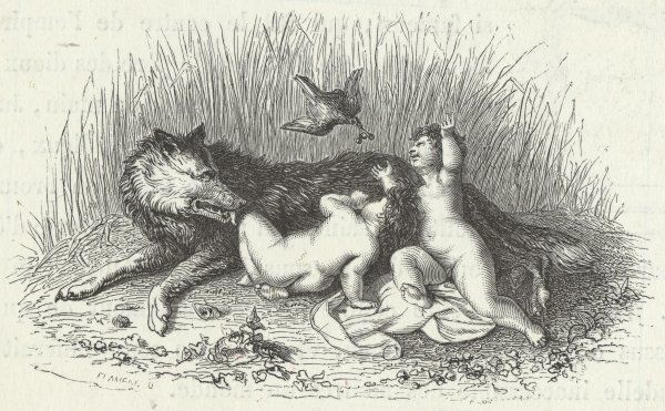 Romulus and Remus are suckled by a wolf (and brought more solid nourishment by a bird)
