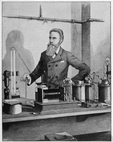 Wilhelm Conrad Rontgen German physicist, discovered X-rays, 1895, Nobel prizewinner, 1901, in his laboratory