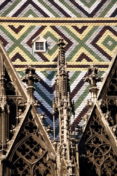 Roof of Saint Stephen's Cathedral in Vienna, Austria circa 2008