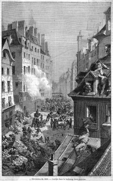 In the Faubourg Saint-Antoine, insurgents hurl anything they can lay hands on at the government troops
