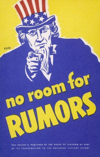 'NO ROOM FOR RUMORS' American World War Two poster