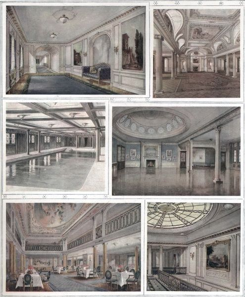 Interior water-colours showing interior rooms of the Cunard liner,'Aquitania' dubbed 'Britains Largest Sea Palace&#39
