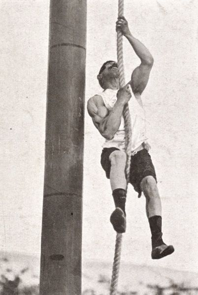 G. Aliprantes of Constantinople, the winner of the 'rope-climbing' event at the 1906 Olympic Games in Athens. The Games were staged as a celebration of the tenth anniversary of the resumption of the Games and opened on May 22. Though not official